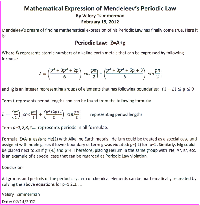 periodic table database chemogenesis - Periodic Table Law
